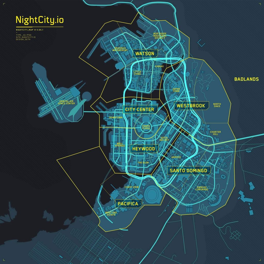 NightCityIO - Cyberpunk 2077 Map im Tron Legacy-Stil (V.04.1_2 Distrikte)